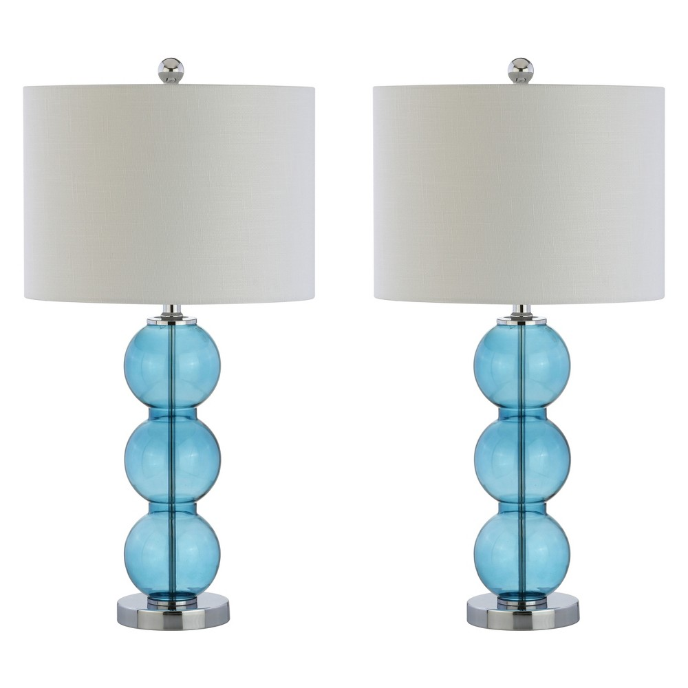 "Image of ""(Set Of 2) 27"""" Bella Glass Triple Sphere LED Table Lamp Sky Blue (Includes Energy Efficient Light Bulb) - JONATHAN Y"""