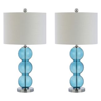 "(Set Of 2) 27"" Bella Glass Triple Sphere LED Table Lamp Sky Blue (Includes Energy Efficient Light Bulb) - JONATHAN Y"