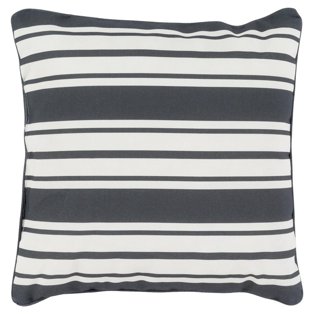 Charcoal (Grey) Geraldton Striped Throw Pillow 16