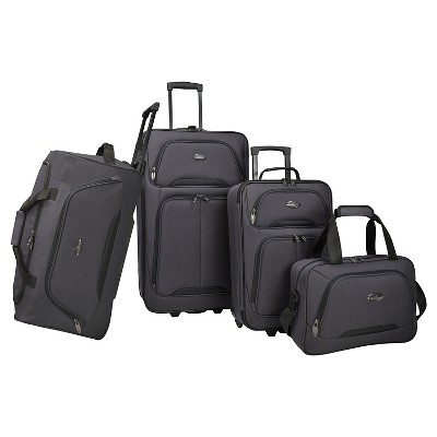 U.S. Traveler Luggage Set - Charcoal