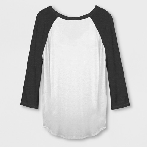 a30a6d5ff Women's 3/4 Sleeve Mermaid Hair Raglan T-Shirt - White/Black : Target