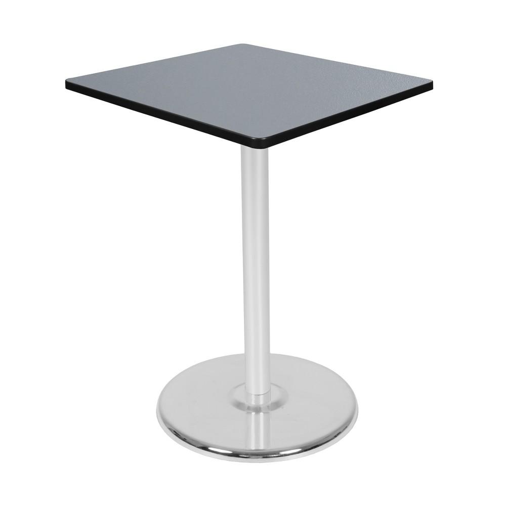 30 Via Cafe High Square Platter Base Table Gray/Chrome (Gray/Grey) - Regency