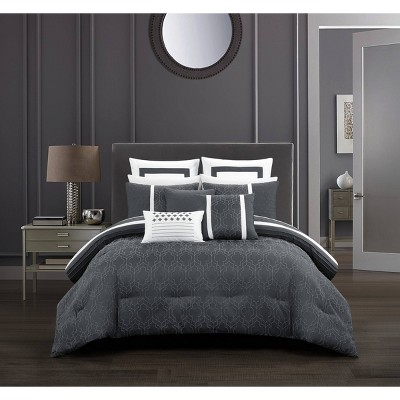12pc King Arlea Bed in a Bag Comforter Set Gray - Chic Home Design