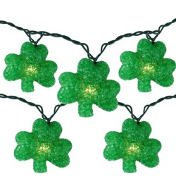 Northlight Set of 10 Irish Shamrock St Patrick's Day String Lights - 7.25ft Green Wire