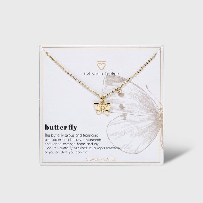 Beloved + Inspired Gold Dipped Silver Plated Butterfly Necklace
