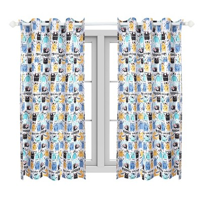 2 Pcs 42 x 84 Inch Monster Series Pattern Kids Curtain Panels Multicolor - PiccoCasa