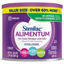 Similac Alimentum Hypoallergenic For Food Allergies and Colic Infant Formula with Iron Powder - 19.8oz