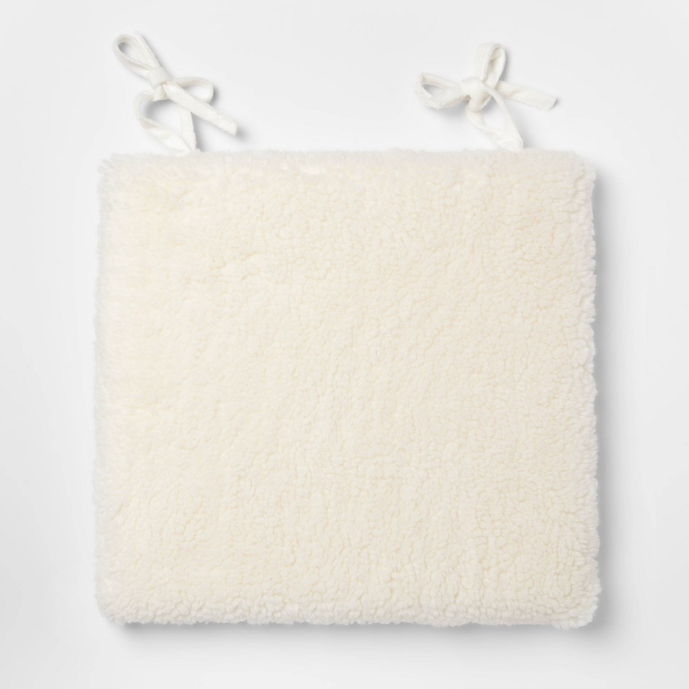 "Image of ""16.5""""x15.5"""" Sherpa Chairpad Cream - Threshold , Beige"""