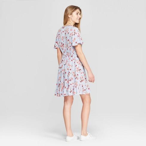 cbd631fa7e Women s Floral Print Short Sleeve Deep V-Neck Button Front Dress -  Xhilaration™ Blue   Target