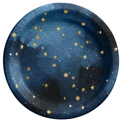 """8.5"""" 20ct Celestial Disposable Dinner Plates with Foil Navy - Spritz™"""