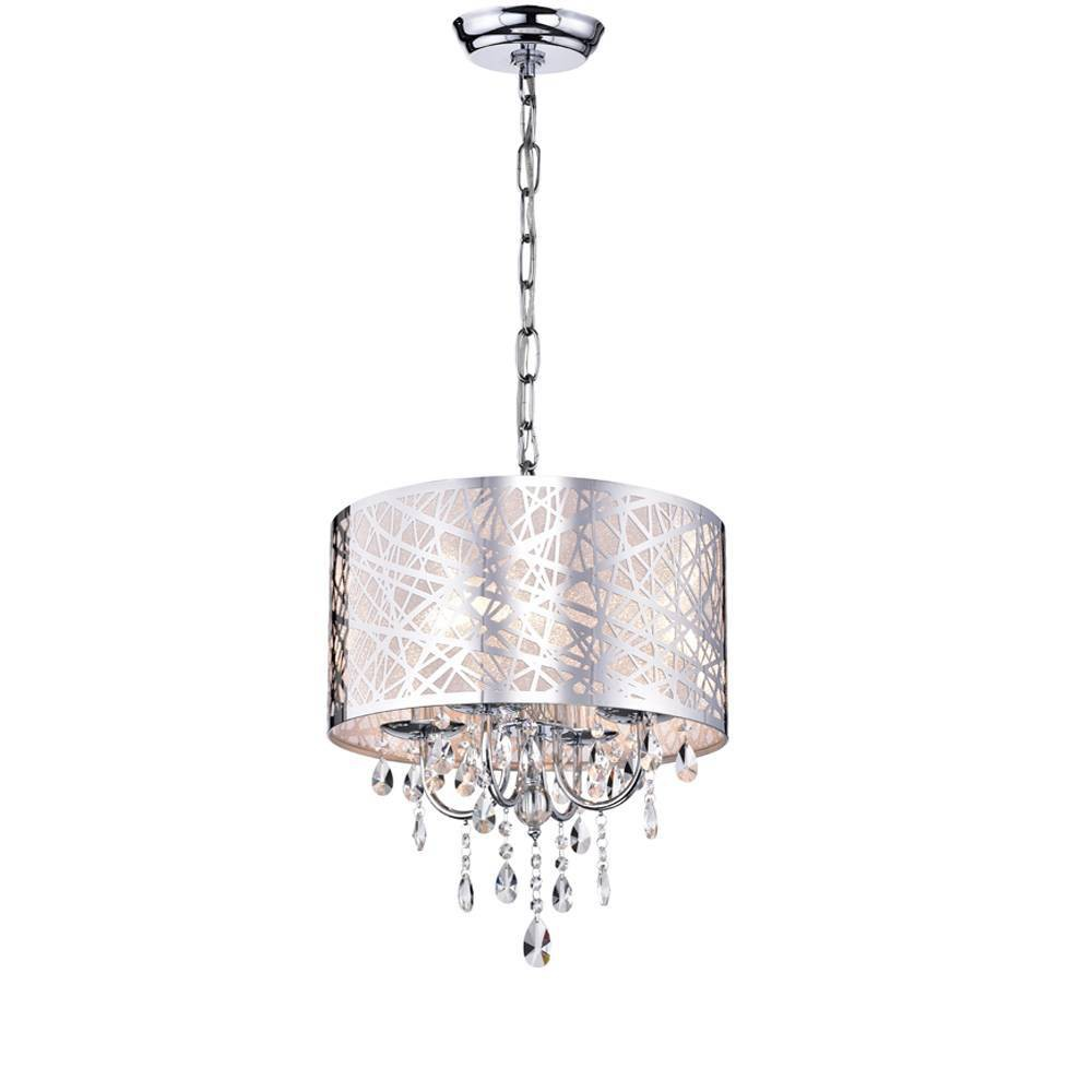 "Image of ""10"""" x 17"""" x 17"""" Abstract 4 Light Crystal Chandelier Silver - Warehouse of Tiffany"""