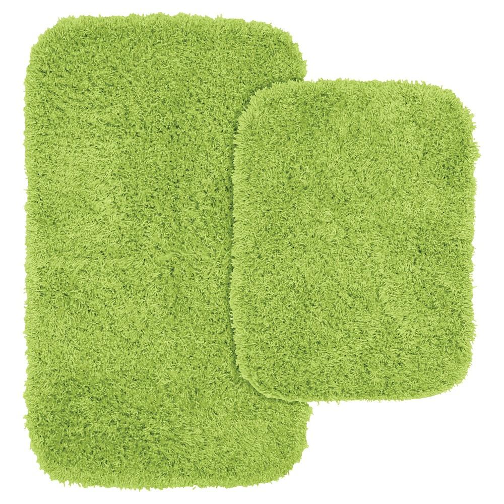 Garland 2 Piece Jazz Shaggy Washable Nylon Bath Rug Set - Lime Green