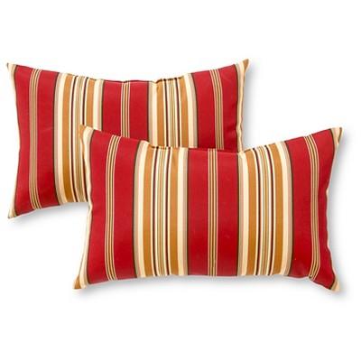 Set of 2 Roma Stripe Outdoor Rectangle Throw Pillows - Kensington Garden