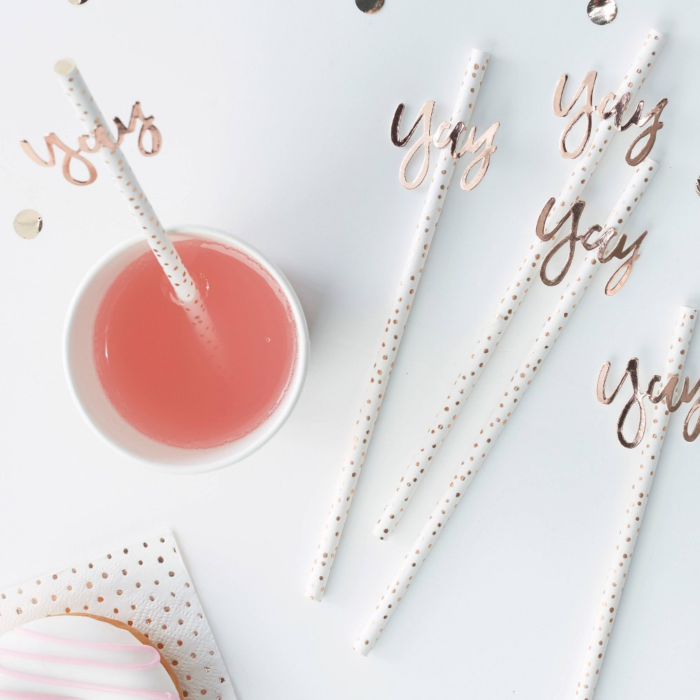 """Image of """"""""""""Yay"""""""" Party Straws, Gold"""""""
