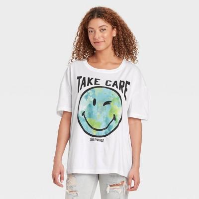 Women's SmileyWorld Take Care Earth Short Sleeve Graphic T-Shirt - White