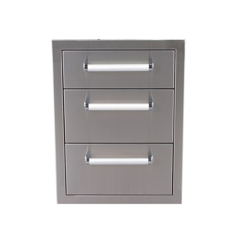 Bonfire CBATD Outdoor Patio Kitchen Grill Stainless Steel Triple Drawer Unit - image 1 of 2
