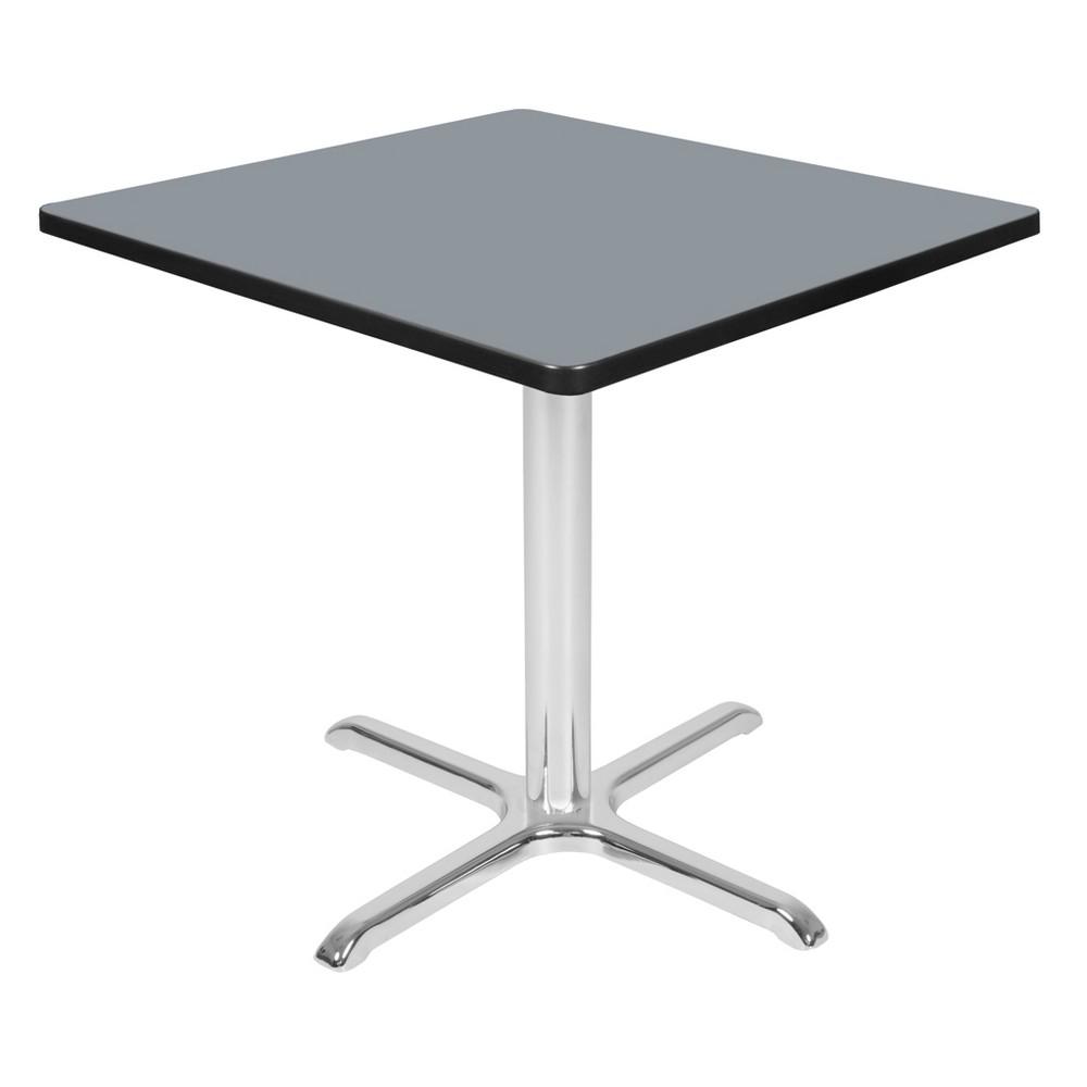 30 Via Square X - Base Table Gray/Chrome (Gray/Grey) - Regency