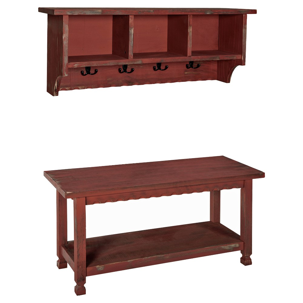 """Image of """"36"""""""" Rustic Cottage Coat Hooks and Storage Bench Set Red - Alaterre Furniture"""""""