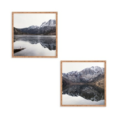 "(Set of 2)12"" x 12"" Reflective Framed Decorative Wall Art Black - Deny Designs"
