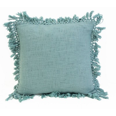 "20""x20"" Simone Cotton Fringe Trim Pillow Blue - Décor Therapy"