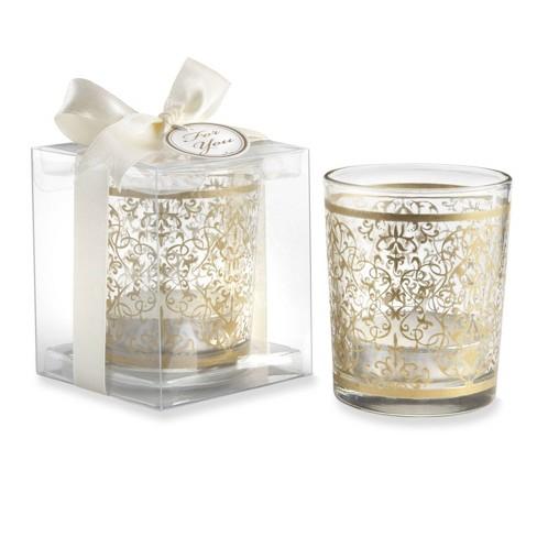 12ct Renaissance Glass Tealight Holder Gold - image 1 of 2