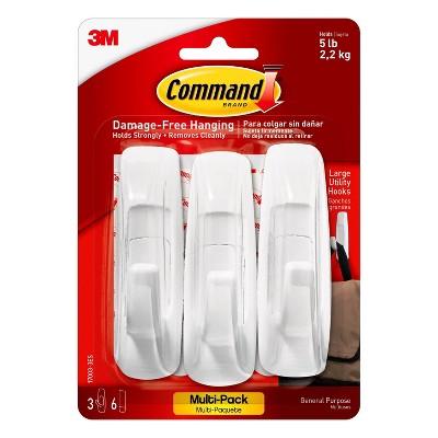 Command 3 Hooks 6 Strips Large Sized Utility Decorative Hooks Value Pack White