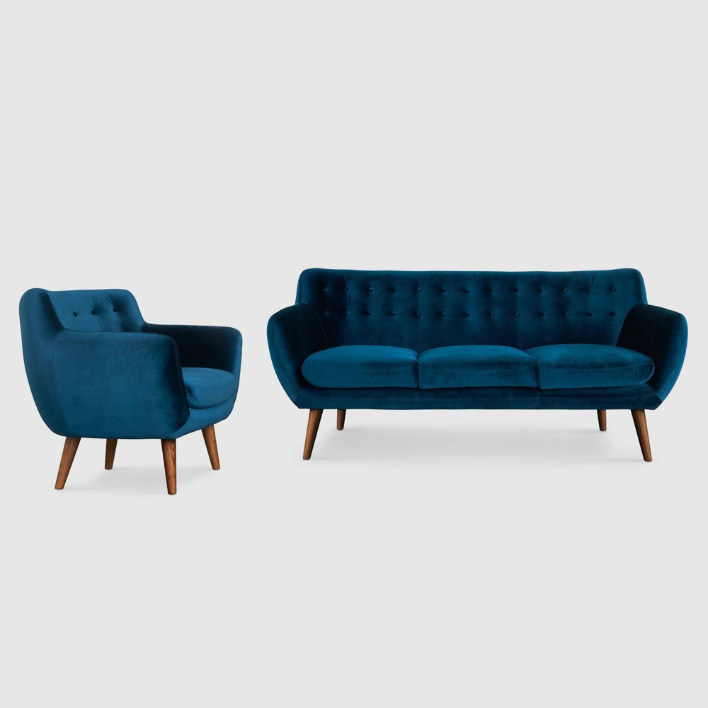 Image of 2Pc Rhodes Mid - Century Modern Living Set Blue - RST Brands