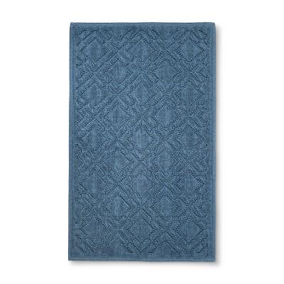 "34""x20"" Lattice Bath Mat Dark Blue - Fieldcrest®"