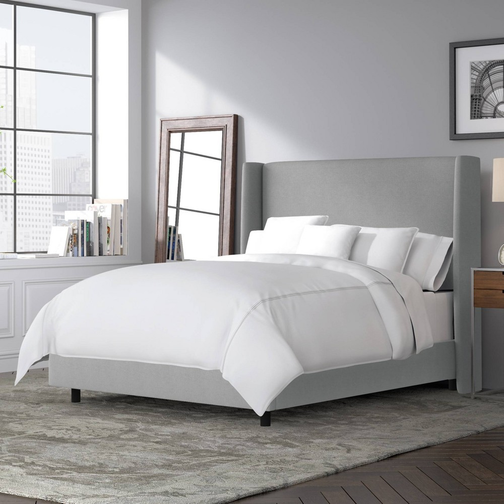 Full Antwerp Wingback Bed Gray Linen - Project 62 Cheap