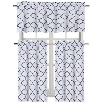 Kate Aurora Living Shabby Trellis 3 Piece Café Kitchen Curtain Tier And Valance Set