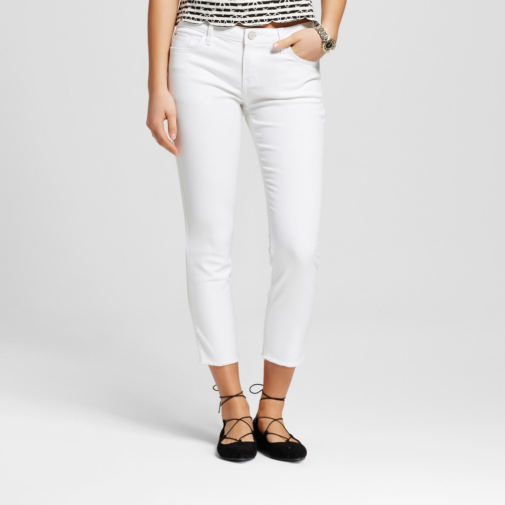 Women's Tacoma Frayed Hem Skinny Crop Jeans White 4 Med - Crafted by Lee