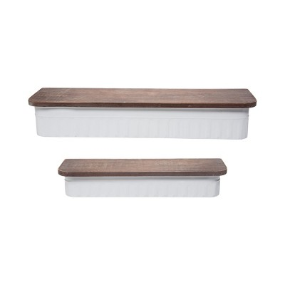 Set of 2 Distressed White Metal and Wood Hanging Wall Shelves - Foreside Home & Garden