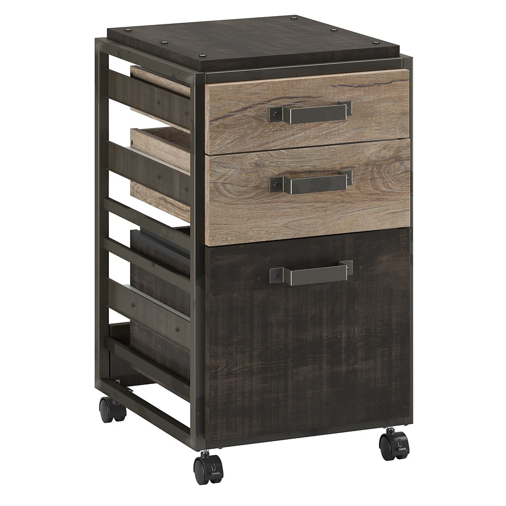 Image of 3 Drawer Refinery Mobile File Cabinet In Rustic Gray - Bush Furniture