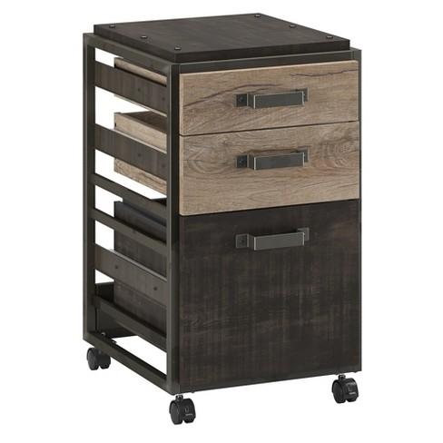 Mobile File Cabinet In Rustic Gray