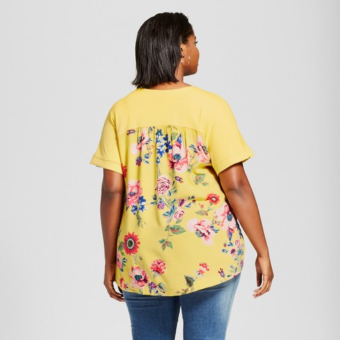 c53471f5332 Women s Plus Size Mixed Media T-Shirt with Floral Print - Ava   Viv™ Yellow  1X   Target
