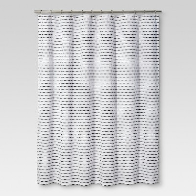 Shower Curtain Textured Stripe Black - Threshold™