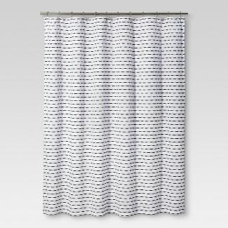 Shower Curtain Textured Stripe Black - Threshold™