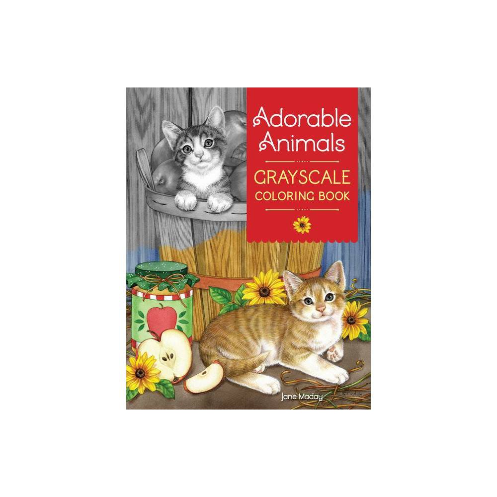 Adorable Animals Grayscale Coloring Book By Jane Maday Paperback