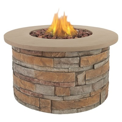 Scottsdale 36  Lightweight Fiber Concrete Propane Fire Table - Round - Real Flame
