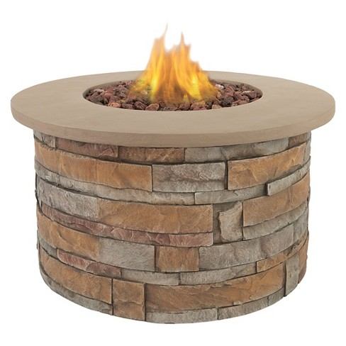Scottsdale 36 Lightweight Fiber Concrete Propane Fire Table Round Real Flame