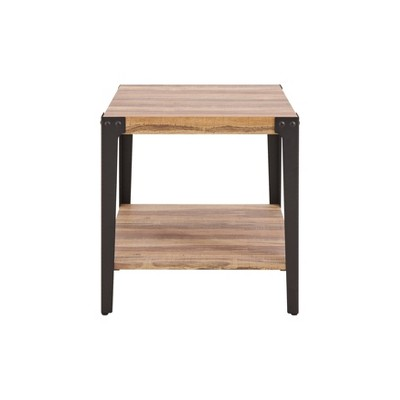 Modern Industrial Side/End Table Metal/Distressed Wood - Danya B.