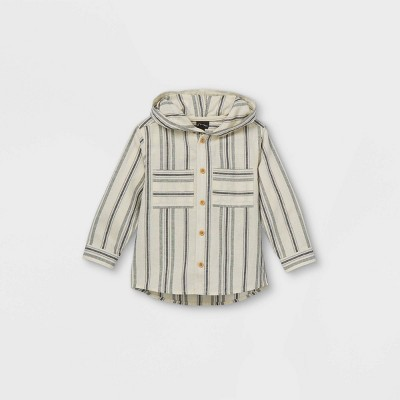 Toddler Boys' Striped Hooded Woven Long Sleeve Button-Down Shirt - art class™ White