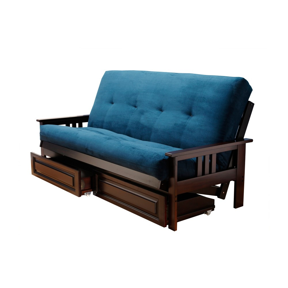Image of Full Chicago Coil Spring Mattress Futon with Drawers Navy Suede - Dual Comfort, Blue Suede