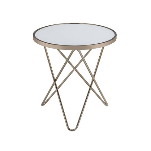 End Table Frosted Glass/Gold - Benzara - image 1 of 2