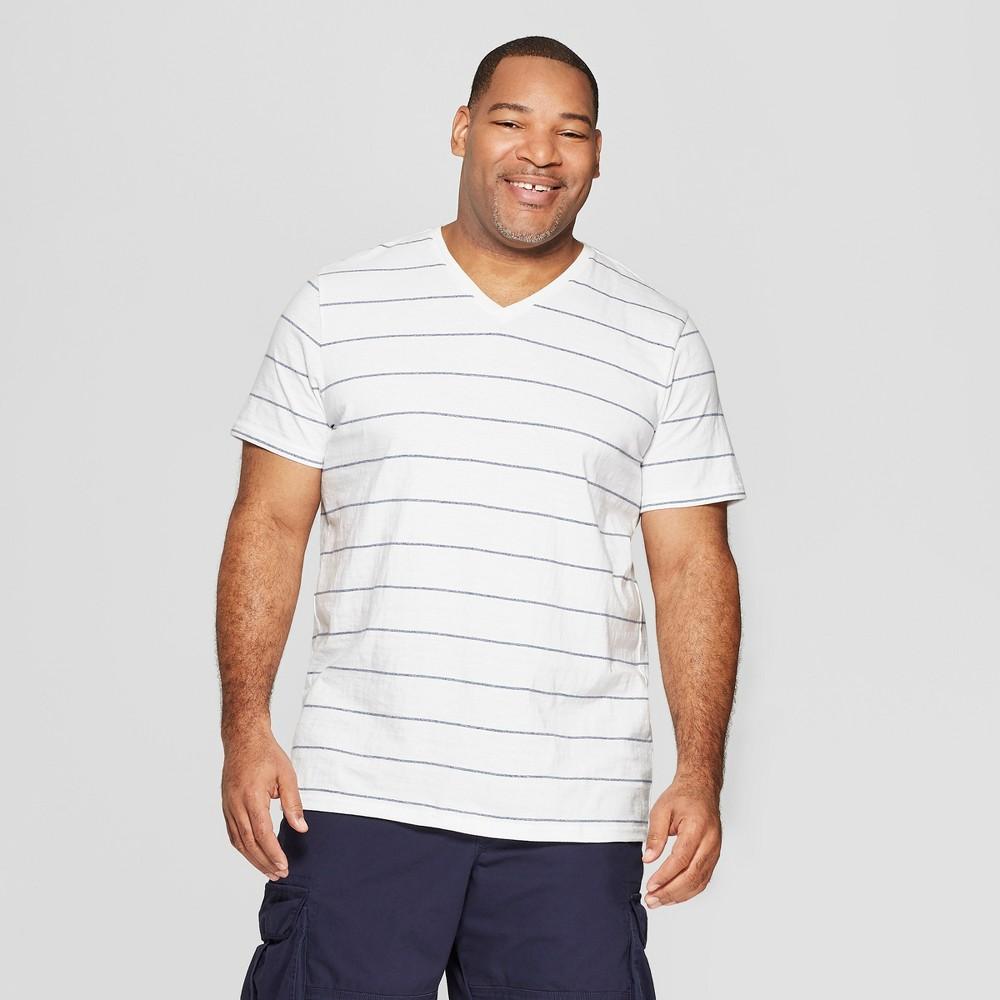 Men's Big & Tall Striped Standard Fit Short Sleeve Novelty V-Neck T-Shirt - Goodfellow & Co White 2XB