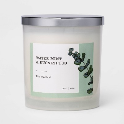 20oz Milky Glass Jar 3-Wick Candle Water Mint & Eucalyptus - Threshold™
