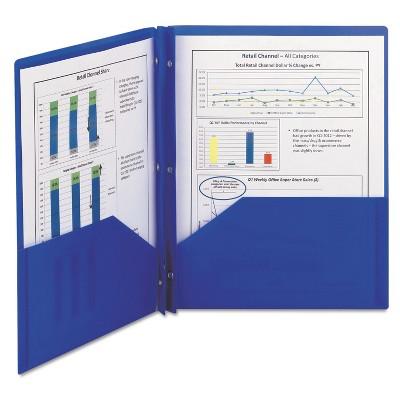 Smead Poly Two-Pocket Folder w/Fasteners 11 x 8 1/2 Blue 25/Box 87726