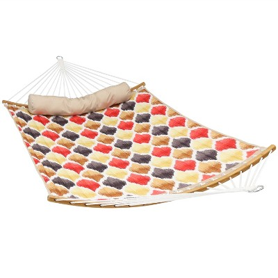 Quilted Hammock with Curved Bamboo Spreader Bars - Red/Gold Quatrefoil - Sunnydaze Decor