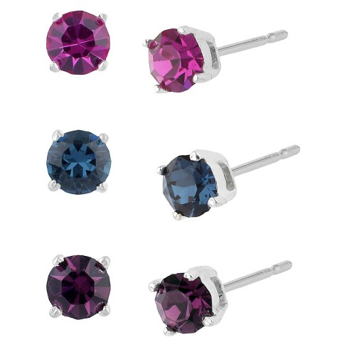 Women's Sterling Silver Stud Earrings Set with 3 Pairs of Crystal Studs - image 1 of 1