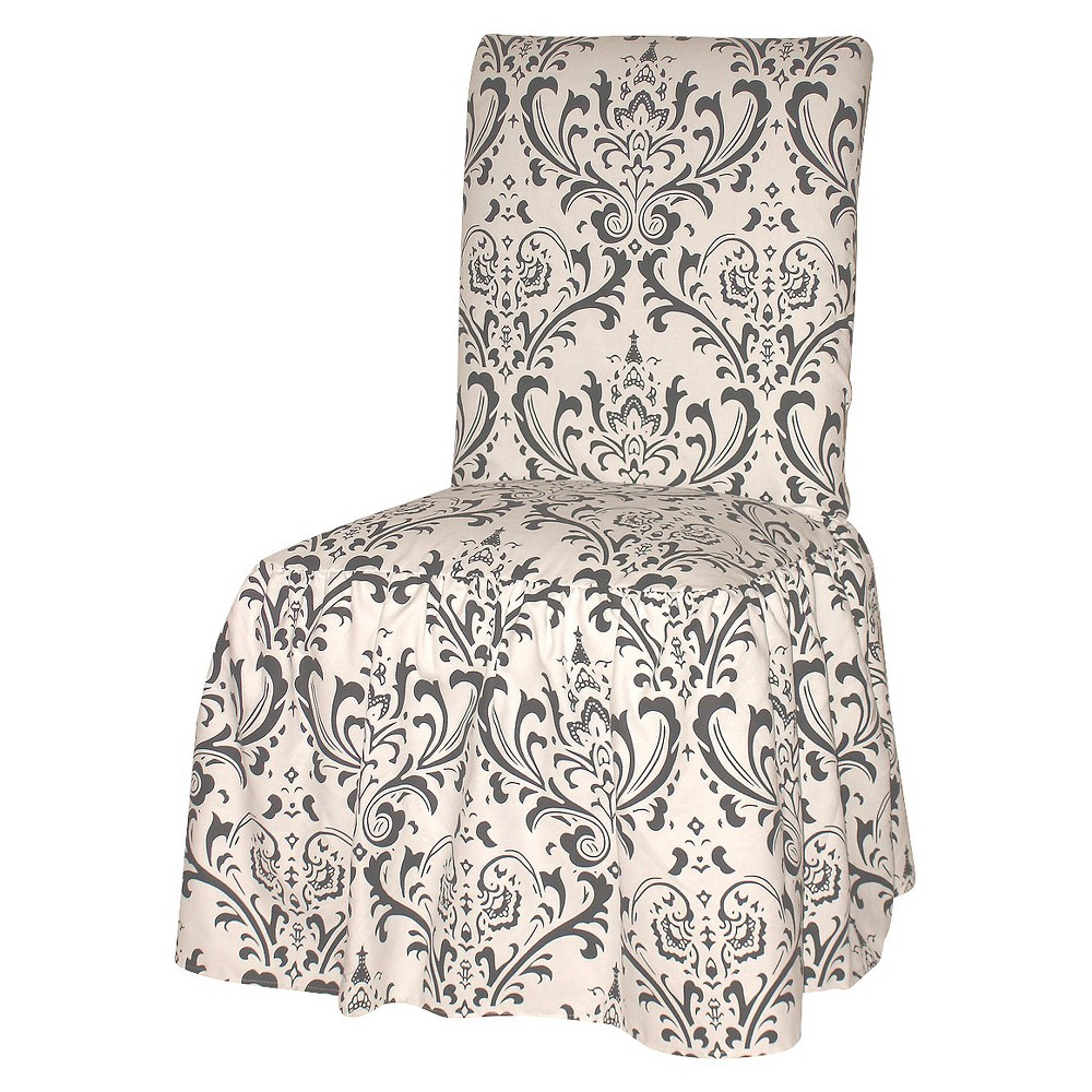 Image of Black/White Damask Dining Chair Slipcover